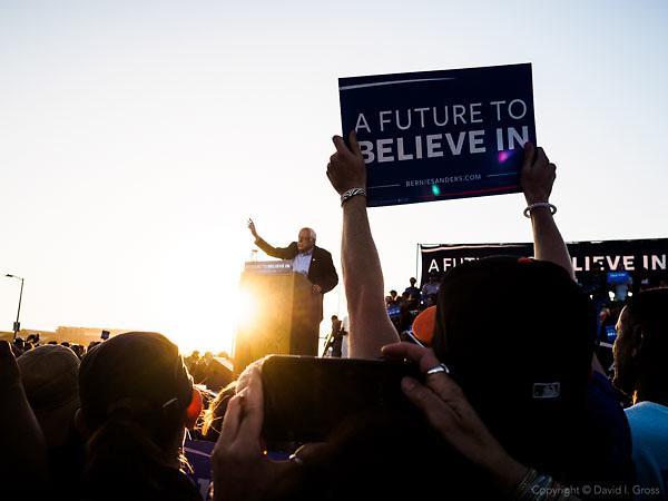 "Bernie Sanders, a candidate for the Democratic nomination for President of the United States, speaks to thousands of supporters at the ""A Future to Believe In"" rally in Vallejo, California."