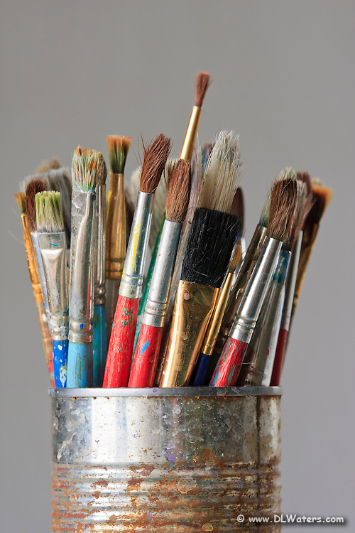 Well use paintbrushes stuffed into a rusty can.