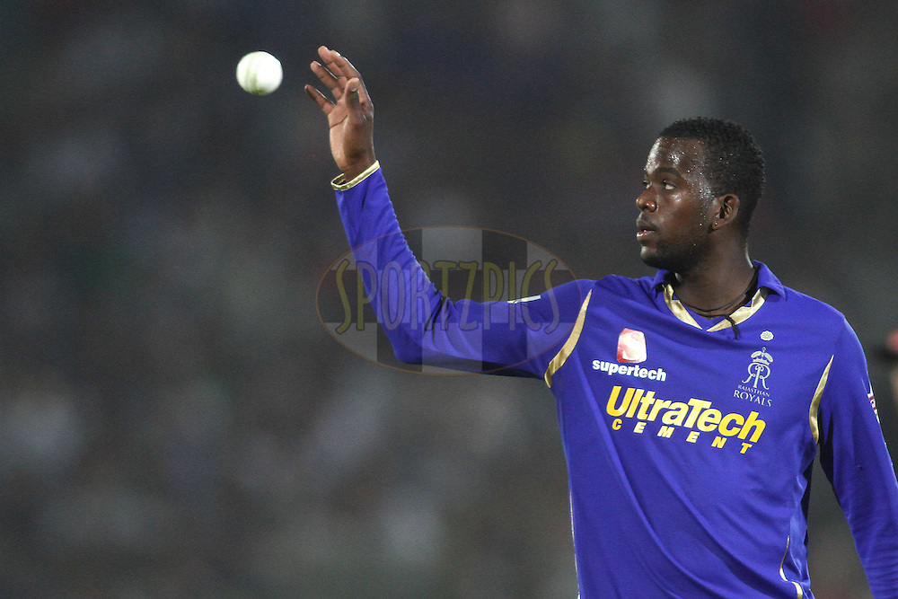 Kevon Cooper of the Rajasthan Royals during match 30 of the the Indian Premier League (IPL) 2012  between The Rajasthan Royals and the Royal Challengers Bangalore held at the Sawai Mansingh Stadium in Jaipur on the 23rd April 2012..Photo by Shaun Roy/IPL/SPORTZPICS