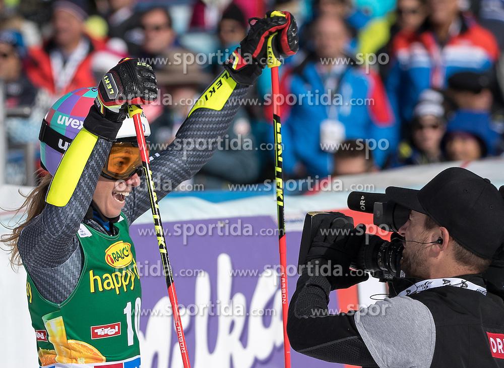 22.10.2016, Rettenbachferner, Soelden, AUT, FIS Weltcup Ski Alpin, Soelden, Riesenslalom, Damen, 2. Durchgang, im Bild Marta Bassino (ITA, 3. Platz) // reacts after her 2nd run of ladies Giant Slalom of the FIS Ski Alpine Worldcup opening at the Rettenbachferner in Soelden, Austria on 2016/10/22. EXPA Pictures © 2016, PhotoCredit: EXPA/ Johann Groder
