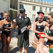 15 September 2016: The San Diego State women's swim team took on the University of San Diego in a pentathlon at USD's swim complex.