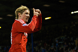 PORTSMOUTH, ENGLAND - Saturday, February 7, 2009: Liverpool's Fernando Torres celebrates scoring the winning third goal against Portsmouth during the Premiership match at Fratton Park. (Mandatory credit: David Rawcliffe/Propaganda)