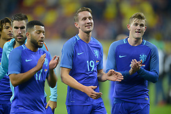 November 14, 2017 - Bucharest, Romania - Holland's Tony Vilhena, Luuk de Jong and Matthijs de Ligt during the International Friendly match between Romania and Netherlands at National Arena Stadium in Bucharest, Romania, on 14 november 2017. (Credit Image: © Alex Nicodim/NurPhoto via ZUMA Press)