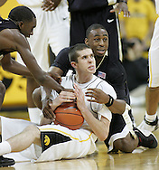 26 NOVEMBER 2007: Iowa guard Jake Kelly (32) calls a timeout after grabbing a lose ball on the floor in Wake Forest's 56-47 win over Iowa at Carver-Hawkeye Arena in Iowa City, Iowa on November 26, 2007.