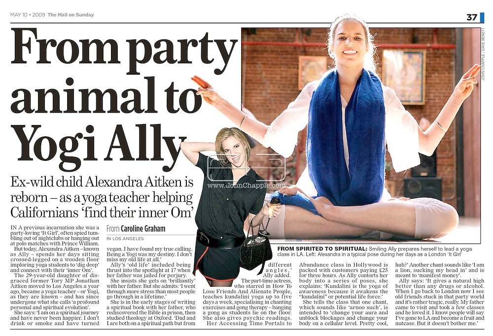 Mail On Sunday (UK) 10th May 2009. Page 37...28th April 2009.Venice Beach, California. Yoga instructor Alexandra Aitken, daughter of  British government minister Jonathan Aitken, who was convicted of perjury in 1999.© JOHN CHAPPLE / REBEL IMAGES.john@chapple.biz    (001) 310 570 9100
