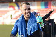 Fleetwood Town goalkeeper Alex Cairns (1) celebrates after his team's win in the EFL Sky Bet League 1 match between Accrington Stanley and Fleetwood Town at the Fraser Eagle Stadium, Accrington, England on 30 March 2019.