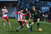 Forest Green Rovers Nathan McGinley(19) on the ball during the EFL Sky Bet League 2 match between Stevenage and Forest Green Rovers at the Lamex Stadium, Stevenage, England on 26 January 2019.