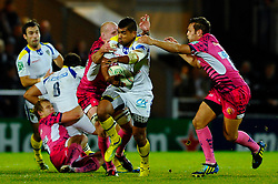 Clermont Inside Centre (#12) Wesley Fofana breaks during the first half of the match - Photo mandatory by-line: Rogan Thomson/JMP - Tel: Mobile: 07966 386802 20/10/2012 - SPORT - RUGBY - Sandy Park Stadium - Exeter. Exeter Chiefs v ASM Clermont Auvergne - Heineken Cup Round 2