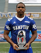 Hampton's Marquay McDaniel wins the Most Valuable Performer during the 2006 MEAC-SWAC Football Challenge against Grambling at Legion Field in Birmingham, Alabama.  Hampton won 27-26 in OT.  September 02, 2006  (Photo by Mark W. Sutton)