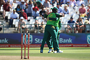 Lutho Sipamla celebrates his wicket during the One Day International match between South Africa and England at PPC Newlands, Capetown, South Africa on 4 February 2020.