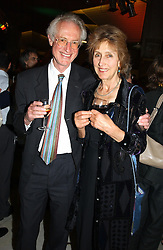 Broacaster BAMBER GASCOIGNE and his wife CHRISTINA at a concert performance of Death in Venice by Benjamin Britten in aid of The Venice in Peril Fund held at the Queen Elizabeth Hall, London on 30th June 2004.  Before the concert a cheque for 1 Million Pounds was presented by Pizza Express to the The Venice in Peril Fund.