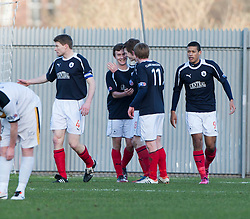 Falkirk's Thomas Grant celebrates after scoring their first goal..Dumbarton 0 v 2 Falkirk, 23/2/2013..©Michael Schofield.