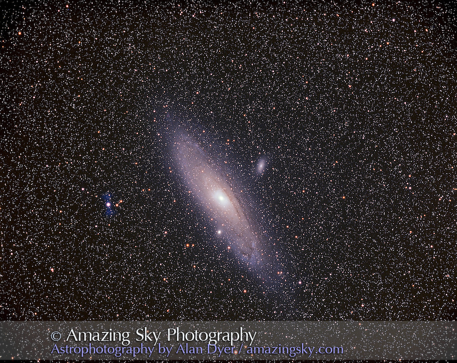 M31 Andromeda galaxy with M32 (bottom) and M110 (top)<br /> <br /> With Williams Optics FLT110 f/6.5 apo refractor with field flattener and Pentax 6x7 camera. Ektachrome E200 slide film and 1 hour exposure. Single image. <br /> <br /> Taken from home, October 2003.  Field simulates FOV of large binoculars.