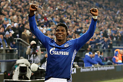 GELSENKIRCHEN, Feb. 18, 2018  Schalke's Breel Embolo celebrates after scoring during the German Bundesliga soccer match between FC Schalke 04 and Hoffenheim, in Gelsenkirchen, western Germany, on Feb. 17, 2018. Schalke won 2-1. (Credit Image: © Joachim Bywaletz/Xinhua via ZUMA Wire)