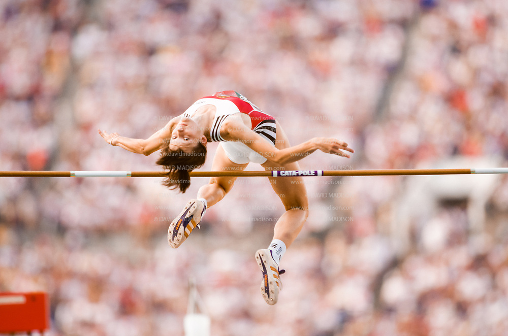 ATLANTA - AUGUST 3:  Alina Astafei of Germany competes in the final of the Women's High Jump event of the Athletics Competition of the 1996 Summer Olympics on August 3, 1996 in the Centennial Olympic Stadium in Atlanta, Georgia.  (Photo by David Madison/Getty Images)