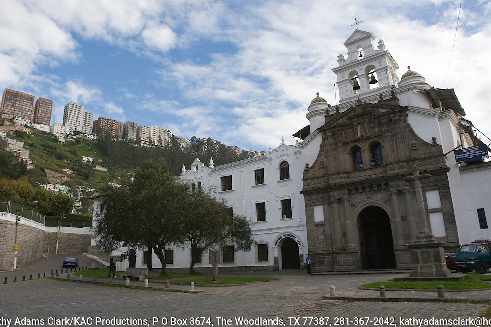 Church and Convent of Guapulo in old Quito, Ecuador. in the La Gonzalez Suarez neighborhood. Parts of the church date to 1649. Neo-classical style of architecture.