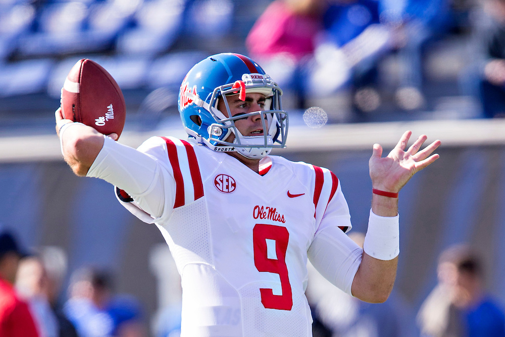 MEMPHIS, TN - OCTOBER 17:  Ryan Buchanan #9 of the Ole Miss Rebels warming up before a game against the Memphis Tigers at Liberty Bowl Memorial Stadium on October 17, 2015 in Memphis, Tennessee.  The Tigers defeated the Rebels 37-24.  (Photo by Wesley Hitt/Getty Images) *** Local Caption *** Ryan Buchanan