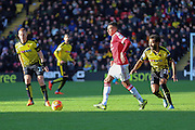 Jesse Lingard of Manchester United on the ball during the Barclays Premier League match between Watford and Manchester United at Vicarage Road, Watford, England on 21 November 2015. Photo by Phil Duncan.