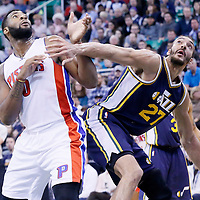25 January 2016: Utah Jazz center Rudy Gobert (27) vies for the rebound with Detroit Pistons center Andre Drummond (0) during the Detroit Pistons 95-92 victory over the Utah Jazz, at the Vivint Smart Home Arena, Salt Lake City, Utah, USA.