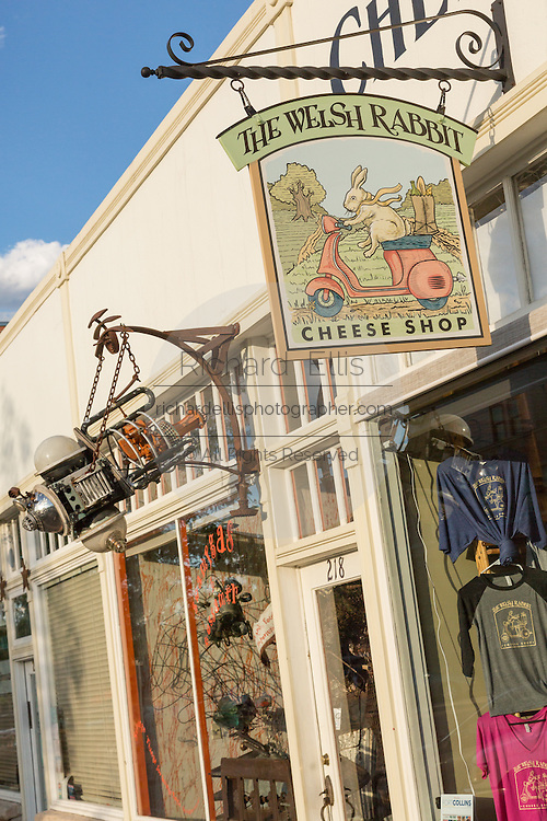 Welsh Rabbit Cheese shop in the Old Town historic shopping and restaurant district in Fort Collins, Colorado.