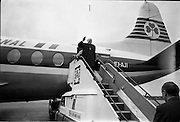 "23/06/1967<br /> 06/23/1967<br /> 23 June 1967<br /> Arrival of Dr. Michael Ramsey, Archbishop of Canterbury at Dublin Airport. Aircraft is an Aer Lingus Viscount 808 ""Gall""."