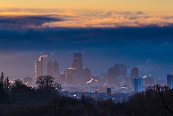 "Steam rises from buildings as the first rays of the sun greet London. The threatened snow from ""The Beast From The East"" weather system doesn't materialise overnight in London leaving a crisp, clear morning, seen from Hampstead Heath in North London. London, February 27 2018."