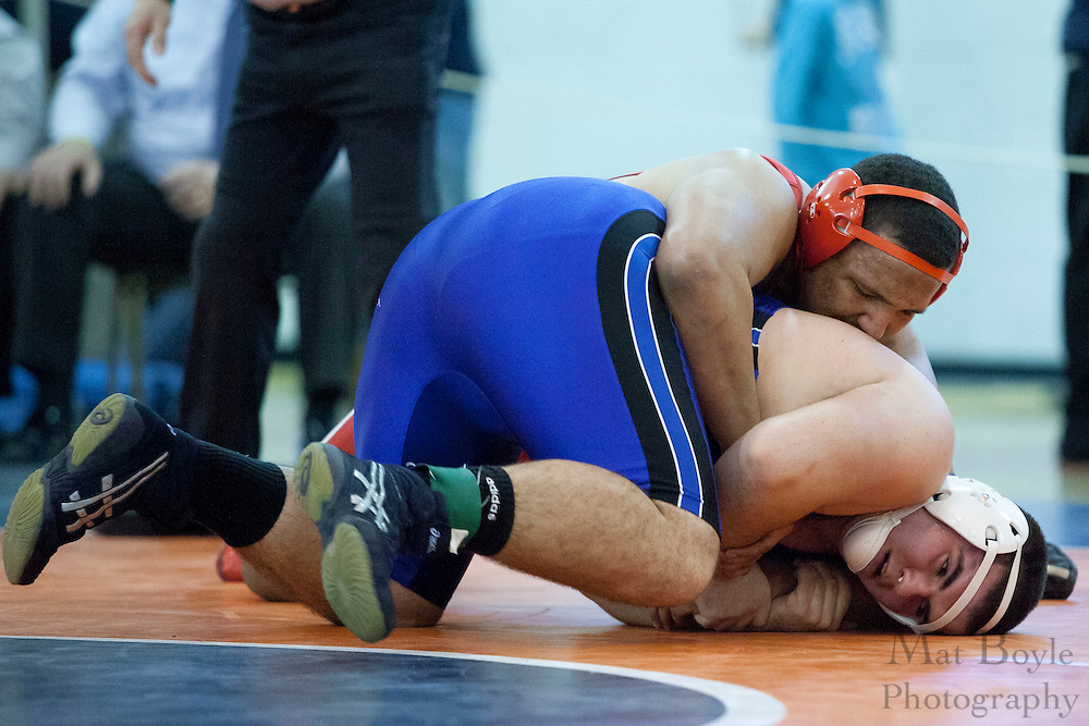 Robert Tinsley of Triton Regional High School vs. Robert Frederico of Hammonton High School during the District 30 Wrestling semifinal match in the 285lb weight class at Overbrook High School on February 18, 2012. (photo / Mat Boyle)