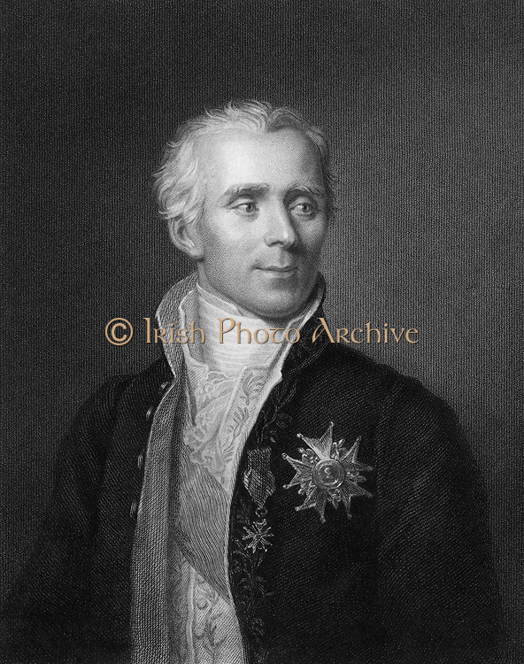 Pierre Simon Laplace (1749-1827), French mathematician and astronomer. [1833]. His five volume 'Mecanique celeste' 1799-1825 was the greatest work on celestial mechanics since Newton's 'Principia'. From 'The Gallery of Portraits', Vol. II, by Charles Knigght (London, 1833).