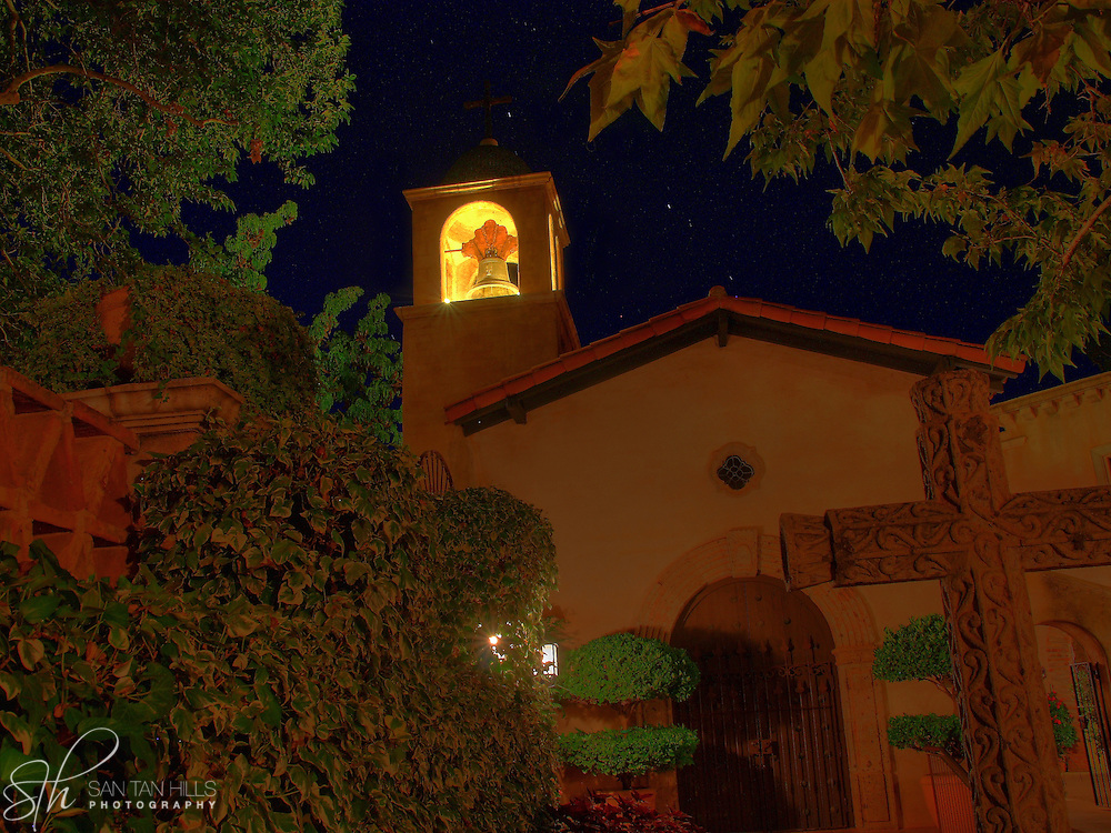 Tlaquepaque Chapel at night with stars in the sky, Sedona, AZ