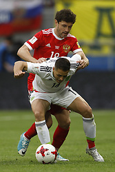 June 24, 2017 - Kazan, Russia - Yury Zhirkov of Russia national team and Javier Hernandez (in front) of Mexico national team vie for the ball during the Group A - FIFA Confederations Cup Russia 2017 match between Russia and Mexico at Kazan Arena on June 24, 2017 in Kazan, Russia. (Credit Image: © Mike Kireev/NurPhoto via ZUMA Press)