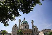 Karlskirche (St. Charles's Church) a baroque church located in Karlsplatz in Vienna, Austria
