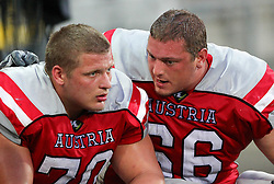 13.07.2011, UPC Arena, Graz, AUT, American Football WM 2011, Group B, Austria (AUT) vs France (FRA), im Bild Michael Habetin (Austria, #70, OL) and Bernd Leitsoni (Austria, #66, OL)  // during the American Football World Championship 2011 Group B game, Austria vs France, at UPC Arena, Graz, 2011-07-13, EXPA Pictures © 2011, PhotoCredit: EXPA/ T. Haumer