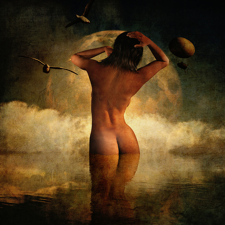 This mixed media piece from Jan Keteleer is compelling to say the least. We see a woman, nude from behind, standing before one of the most brilliant moons you have ever seen. She is clearly coming up for air. We can see some seagulls in the nearby distance. This is a piece that inspires the viewer to ask all sorts of questions. It is impossible to look at something like this, without creating some sort of history all their own. This is an ideal piece for anyone who wants to add something of an enigma to their personal space. You can hang this piece virtually anywhere. <br />