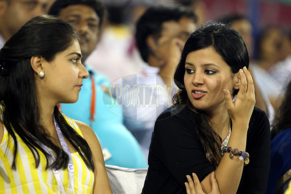 Sakshi Dhoni (R) during match 29 of the Pepsi Indian Premier League Season 2014 between the Kings XI Punjab and the Chennai Superkings held at the Barabati Stadium, Cuttack, India on the 7th May  2014Photo by  Prashant Bhoot / IPL / SPORTZPICSImage use subject to terms and conditions which can be found here:  http://sportzpics.photoshelter.com/gallery/Pepsi-IPL-Image-terms-and-conditions/G00004VW1IVJ.gB0/C0000TScjhBM6ikg