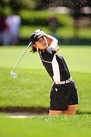 August 21, 2004; Dublin, OH, USA;  14 year old amateur Michelle Wie hits out of a bunker during the 3rd round of the Wendy's Championship for Children golf tournament held at Tartan Fields Golf Club.  <br />