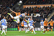 Queens Park Rangers player Toni Leistner (37) and Hull City player Ryan Tafazolli (3) during the EFL Sky Bet Championship match between Hull City and Queens Park Rangers at the KCOM Stadium, Kingston upon Hull, England on 19 October 2019.