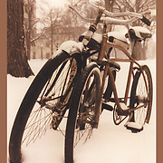 "Bicycling Postcard - Snow Bikes. Suitable for use on a 4.25"" x 6"" printed postcard."