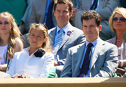 LONDON, ENGLAND - Saturday, June 28, 2008: Tim Henman and his wife Lucy in the royal box during a third round match on day six of the Wimbledon Lawn Tennis Championships at the All England Lawn Tennis and Croquet Club. (Photo by David Rawcliffe/Propaganda)