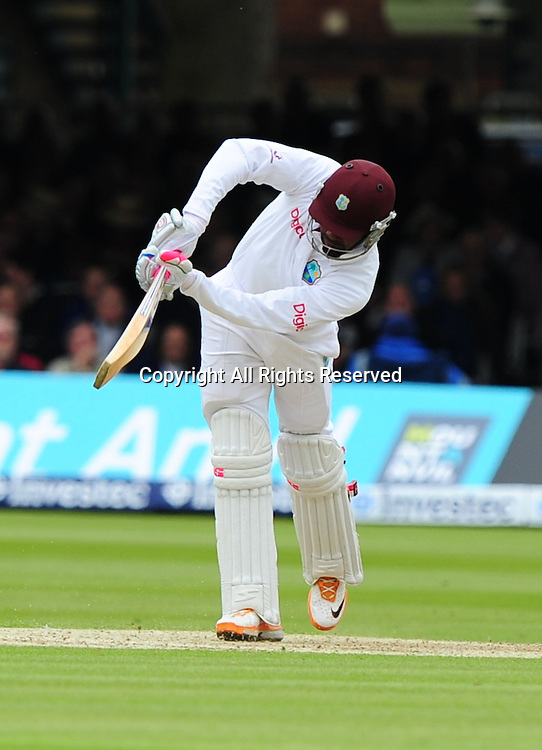 17.05.2012 London, England. Dwayne Bravo  in action during the First Test between England and West Indies from Lords.