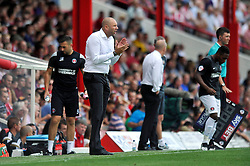 Charlton Athletic Manager, Bob Peeters rallies his players during the match - Photo mandatory by-line: Patrick Khachfe/JMP - Mobile: 07966 386802 09/08/2014 - SPORT - FOOTBALL - Brentford - Griffin Park - Brentford v Charlton Athletic - Sky Bet Championship - First game of the season