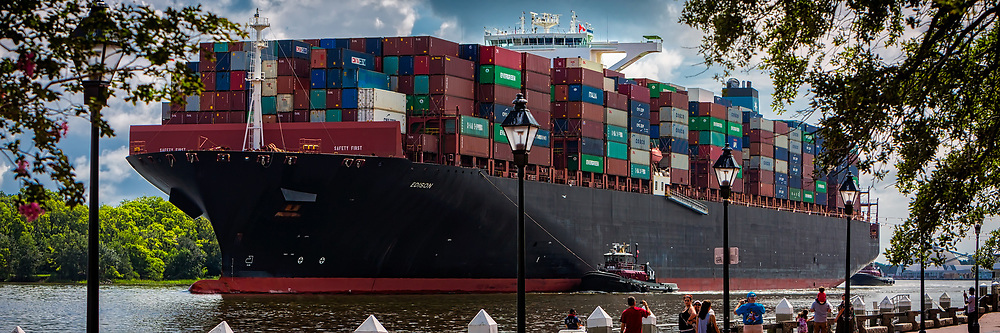 The 13,000 TEU container ship Maersk Edison sailed up river to the Georgia Ports Authority Port of Savannah, Thursday, Aug., 10, 2017, in Savannah, Ga.  (GPA Photo/Stephen B. Morton)