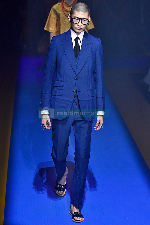 Model Haemin Jeon walks on the runway during the Gucci Fashion Show during Milan Fashion Week Spring Summer 2018 held in Milan, Italy on September 20, 2017. (Photo by Jonas Gustavsson/Sipa USA)