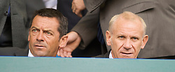 LIVERPOOL, ENGLAND - Sunday, August 30, 2009: Hull City manager Phil Brown and Thailand manager Peter Reid watch from the stands as Everton take on Wigan Athletic during the Premiership match at Goodison Park. (Photo by David Rawcliffe/Propaganda)