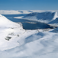 Isafjordur, Isafjadardjup and SWnaefjallastrond in background