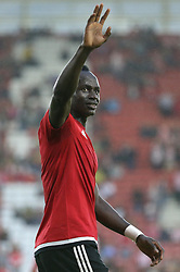Sadio Mane of Southampton waves to the crowd during the  warm up before the match - Mandatory byline: Paul Terry/JMP - 07966386802 - 20/08/2015 - FOOTBALL - ST Marys Stadium -Southampton,England - Southampton v FC Midtjylland - EUROPA League Play-Off Round
