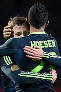 Onderwerp/Subject: Ajax - Eredivisie<br /> Reklame:  <br /> Club/Team/Country: 3<br /> Seizoen/Season: 2012/2013<br /> FOTO/PHOTO: Danny HOESEN Player Number 23 (FRONT) of Ajax celebrating his goal with Viktor FISCHER (BEHIND) of Ajax ( 0 - 2 ). (Photo by PICS UNITED)<br /> <br /> Trefwoorden/Keywords: <br /> #02 #21 $94 ±1342782825903<br /> Photo- & Copyrights © PICS UNITED <br /> P.O. Box 7164 - 5605 BE  EINDHOVEN (THE NETHERLANDS) <br /> Phone +31 (0)40 296 28 00 <br /> Fax +31 (0) 40 248 47 43 <br /> http://www.pics-united.com <br /> e-mail : sales@pics-united.com (If you would like to raise any issues regarding any aspects of products / service of PICS UNITED) or <br /> e-mail : sales@pics-united.com   <br /> <br /> ATTENTIE: <br /> Publicatie ook bij aanbieding door derden is slechts toegestaan na verkregen toestemming van Pics United. <br /> VOLLEDIGE NAAMSVERMELDING IS VERPLICHT! (© PICS UNITED/Naam Fotograaf, zie veld 4 van de bestandsinfo 'credits') <br /> ATTENTION:  <br /> © Pics United. Reproduction/publication of this photo by any parties is only permitted after authorisation is sought and obtained from  PICS UNITED- THE NETHERLANDS