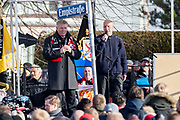 Mayor of Munich, Dieter Reiter and Tony O'Neil during the ceremony at Manchesterplatz, Munich, Germany. Picture by Phil Duncan.