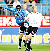 Fotball , <br /> Adeccoligaen , <br /> 27.08.08 , <br /> Komplett.no Arena , <br /> Sandefjord - Odd Grenland , <br /> Malick Mane Sandefjord , <br /> Torjus Hansén Odd , <br /> Foto: Thomas Andersen / Digitalsport