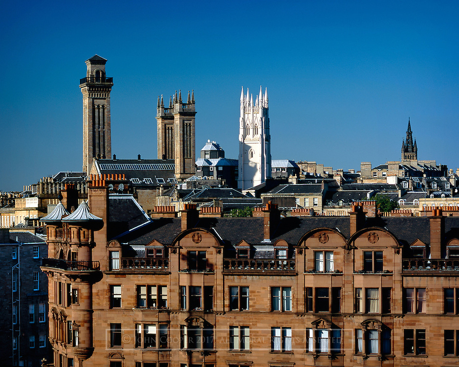 Colour photograph of the Trinity Towers in Glasgow's Park District. Mounted print available to purchase.