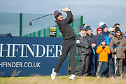 Tommy Fleetwood hits his drive on the 17th during the final round of the Alfred Dunhill Links Championships 2018 at West Sands, St Andrews, Scotland on 7 October 2018
